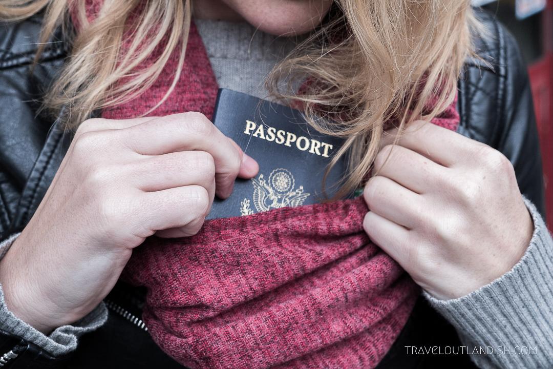 Speakeasy Travel Scarf with Hidden Pocket Closeup