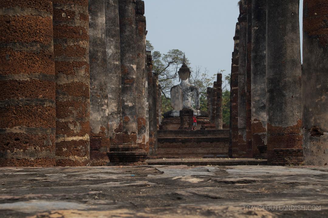 Columns and Buddha at Sukhothai