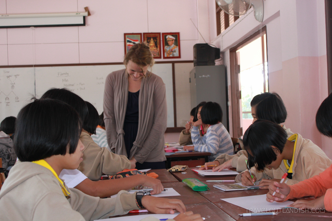 Teaching English Abroad - Taylor helping with homework