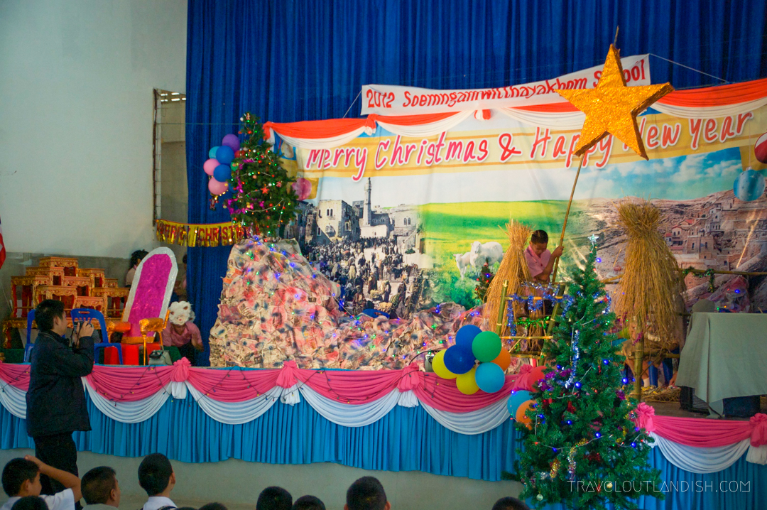 High school Christmas Pageant while Teaching English in Thailand