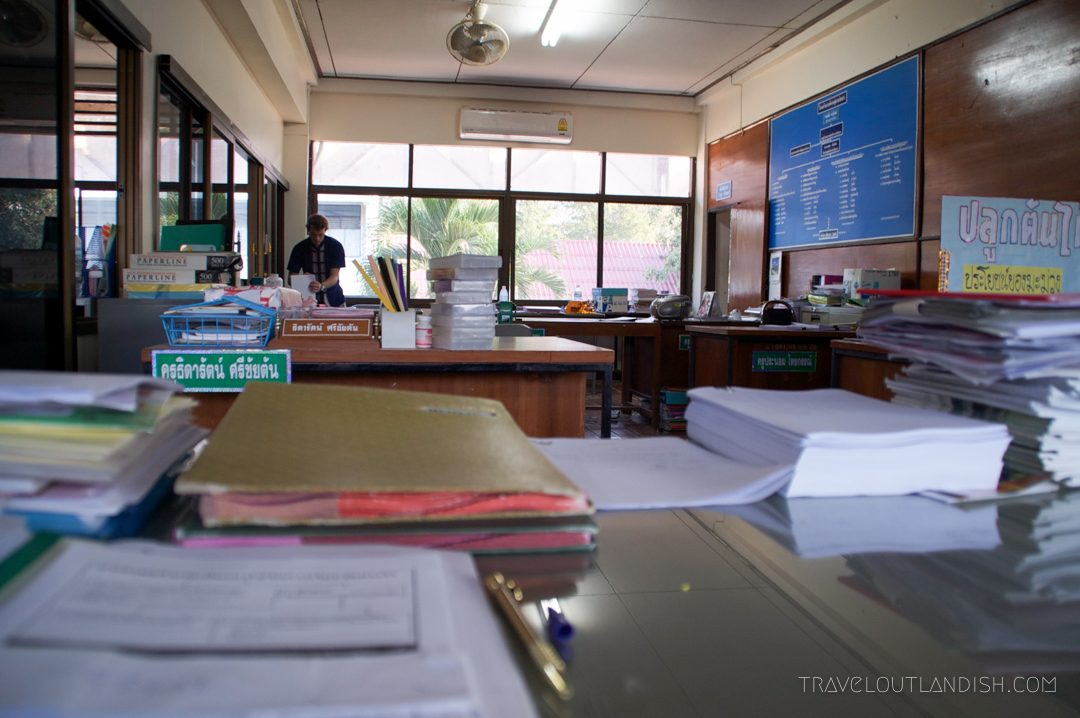 Teaching English Abroad - Teacher's office in a Thai high school