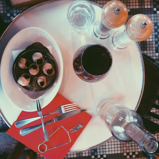 Eating escargot in Paris