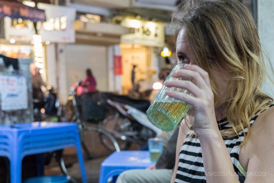 Drinking beer hoi in Hanoi
