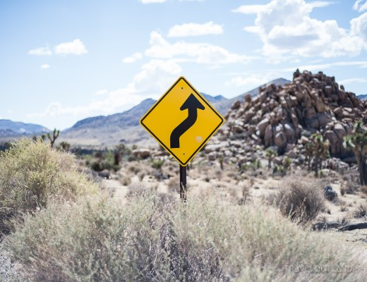 Epic Overland Travel Routes - Roadsign in Joshua Tree