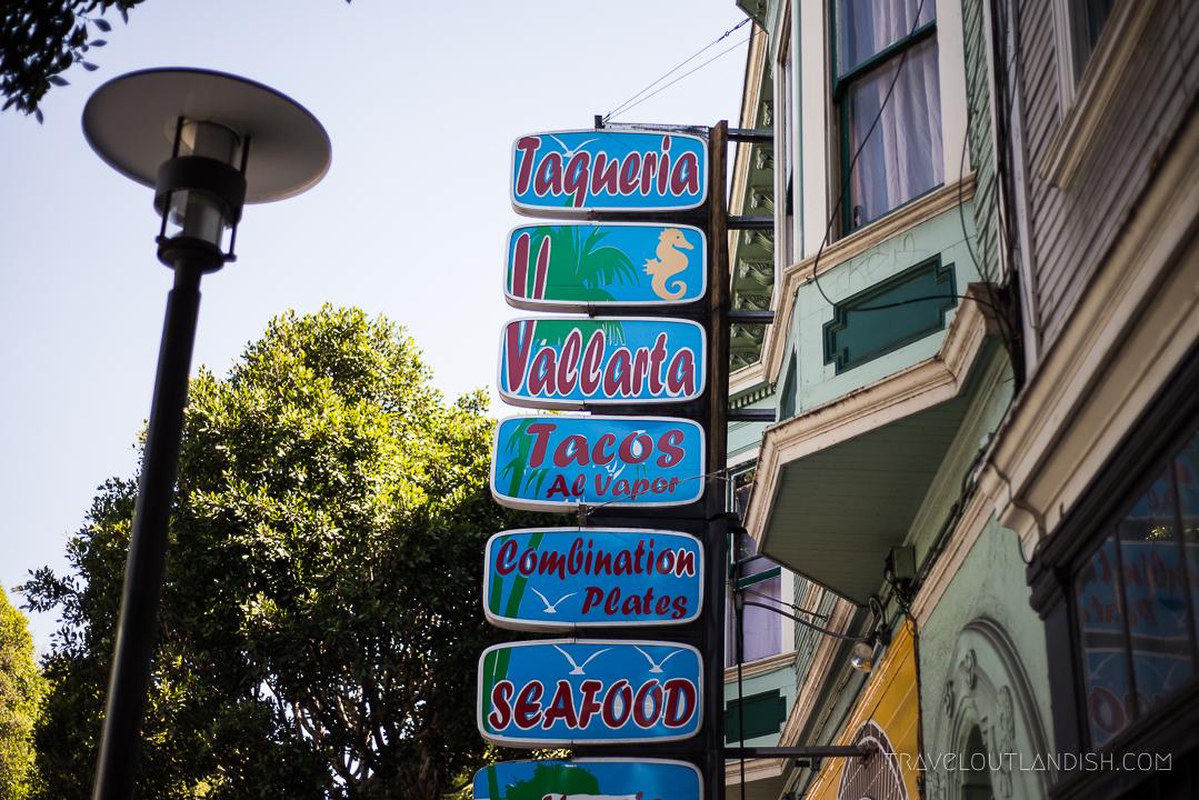 Signage at Taqueria Vallarta in San Francisco