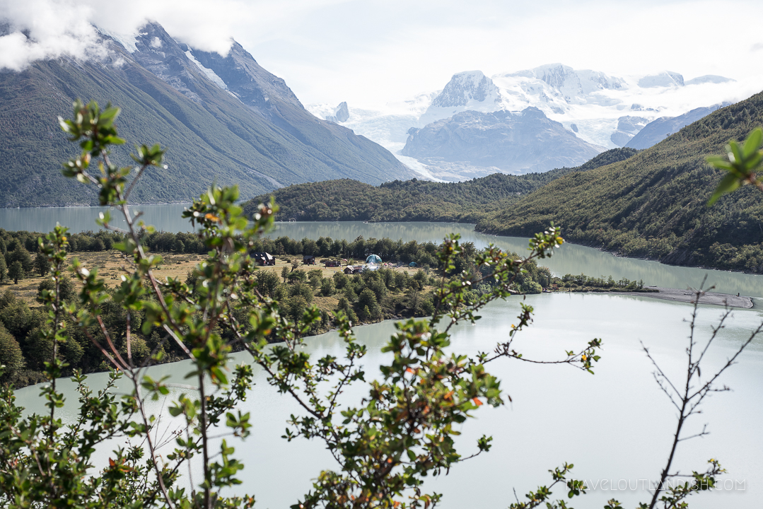 Looking down at Dickson Campsite in Torres del Paine