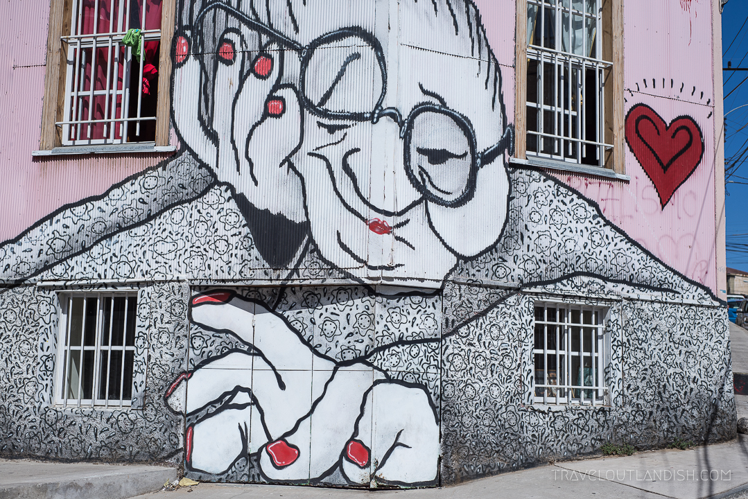 Vaparaiso Street Art - Bored Woman