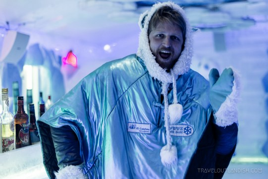 Ice Bar Argentina - Marcus in a polar bear poncho