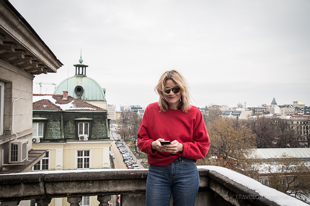 On a rooftop in Sofia using Skyscanner App