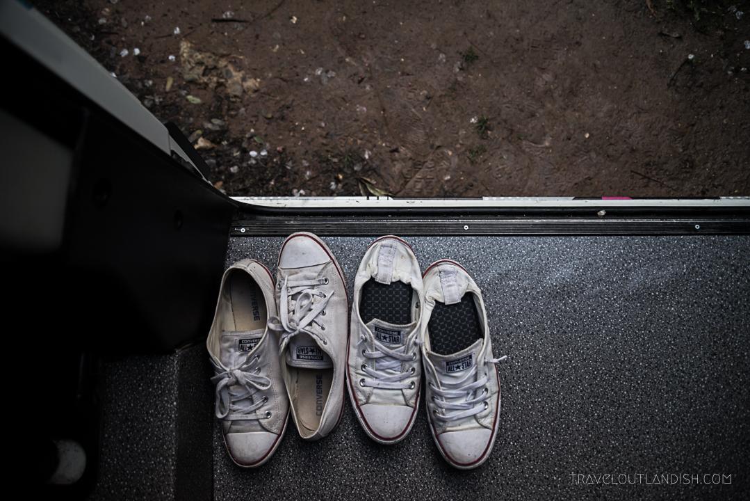 Portugal Campervan Hire - Shoes in the Van
