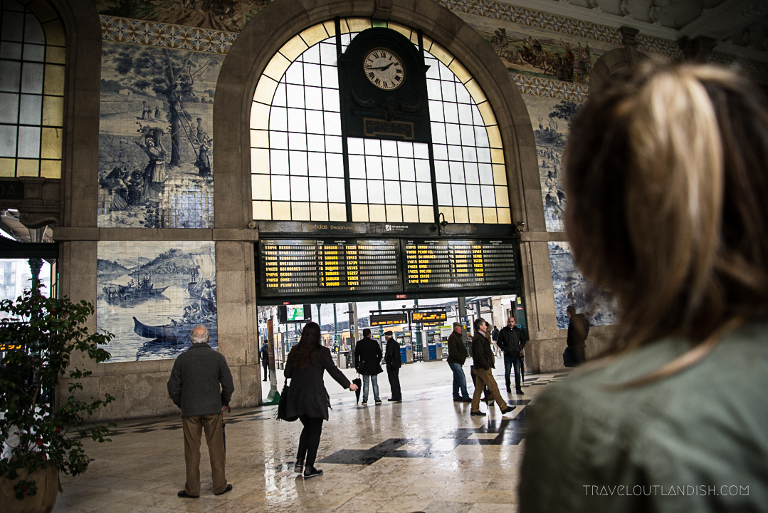 Looking at the clock at São Bento Railway Station
