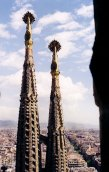 Tops of spires at the Temple de la Sagrada Familia. Note the inscriptions spelled out in tiles on the sides of these spires