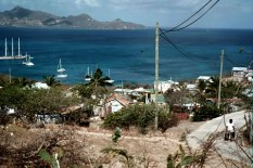 Looking at Saline Bay from the top of the town, Mayreau
