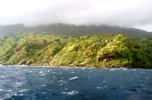 Sun breaking thru the clouds in shore of St. Vincent