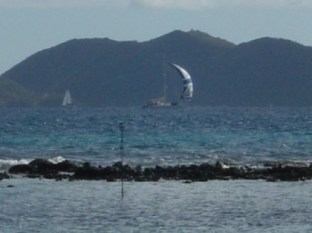 Sailboat looking out of Maya Cove