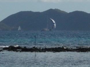 Sailboat looking out of Maya Cove