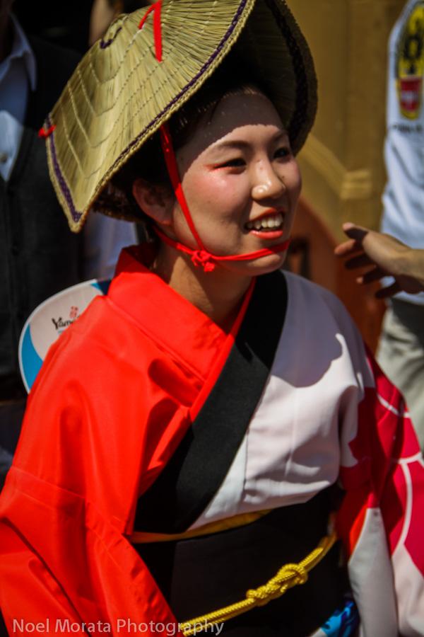 Smiling geisha at Cherry Blossom festival
