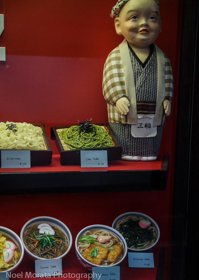 Bento and noodle displays at Japan town
