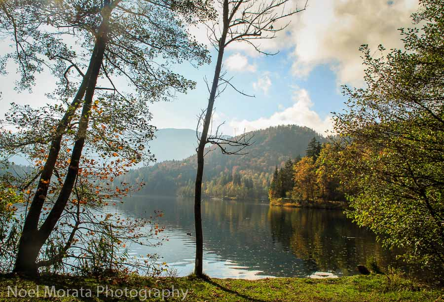 Following the coastal trail along Lake Bled