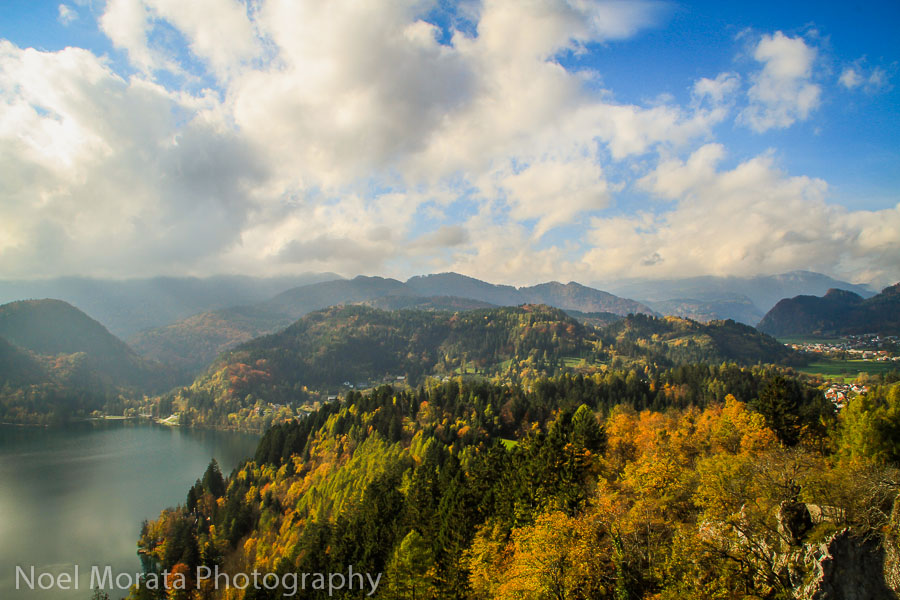 The views from the top of Bled castle