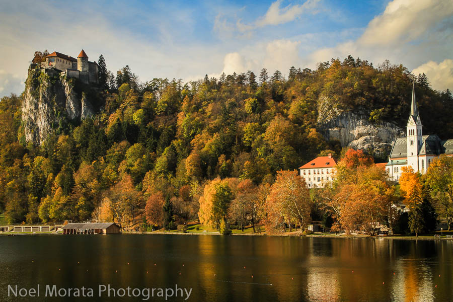A panorama shot of the castle and Lake Bled