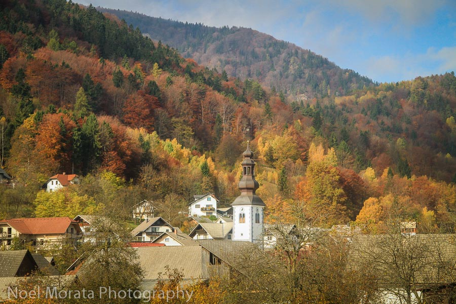 Fall countryside train ride in Slovenia