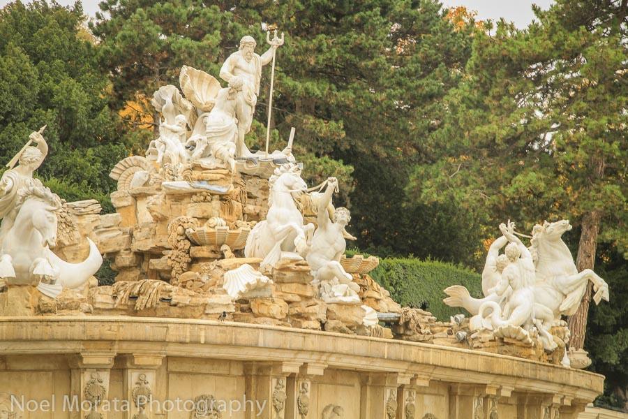 Detail of central promenade fountain at Schonbrunn
