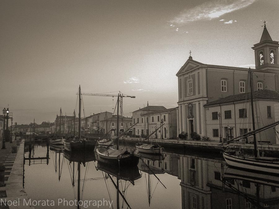 Canal and churches of Cesenatico, Italy
