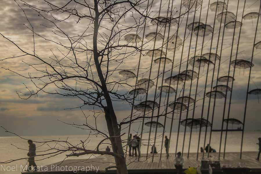 'Umbrellas' sculpture of Thessaloniki along the bay front