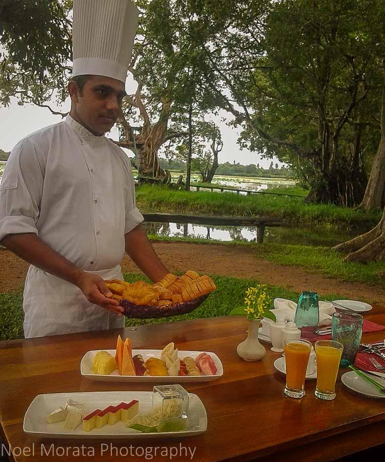 Breakfast is served on the island at Cinnamon Lodge in Habanara