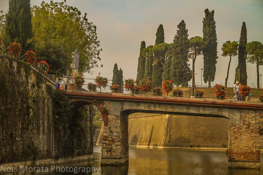 Bridge to the gate entrance at Lake Garda in Peschiera