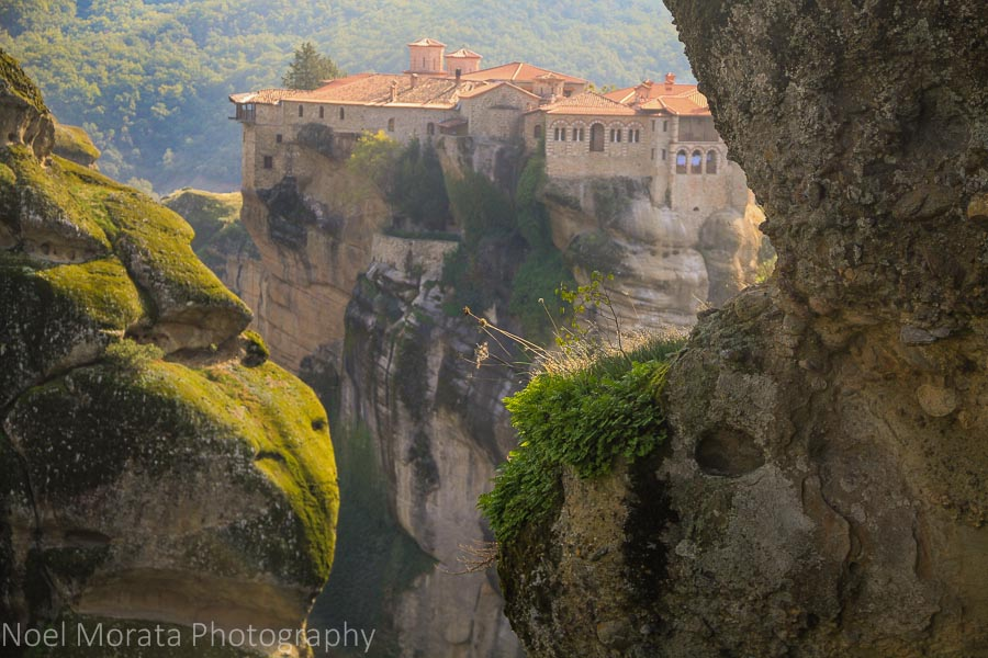 In between the giant cracks and viewing a monastery in Meteora