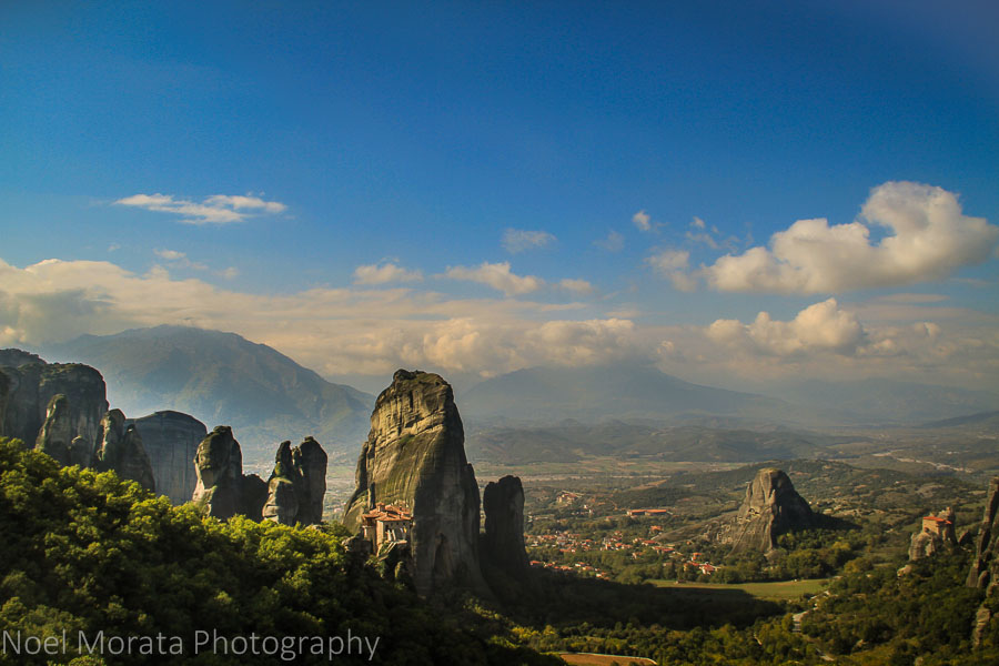 A panoramic view from above at Meteora, Greece