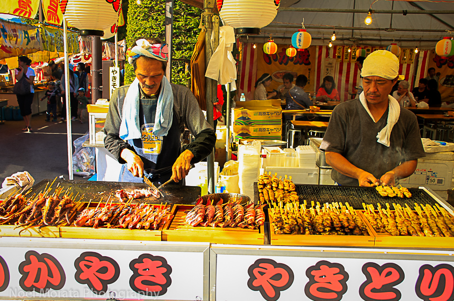 Street food at a harvest festival in Japan