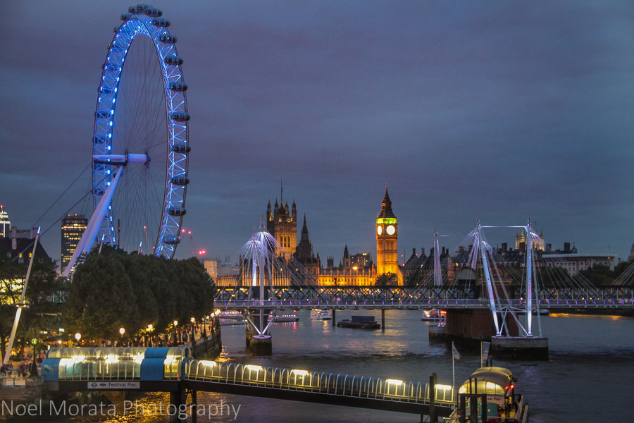 View of the London Eye and Big Ben