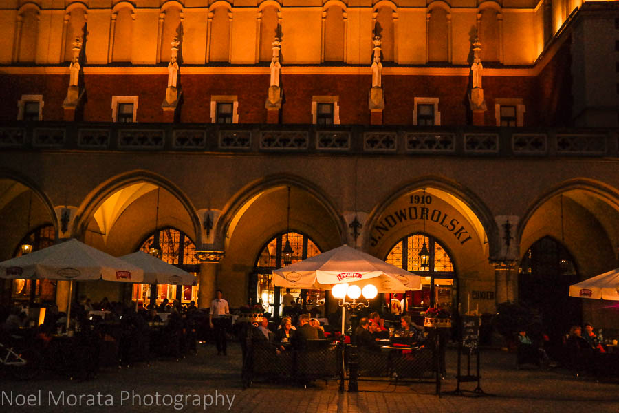 Krakow at night time - The main square and café scene