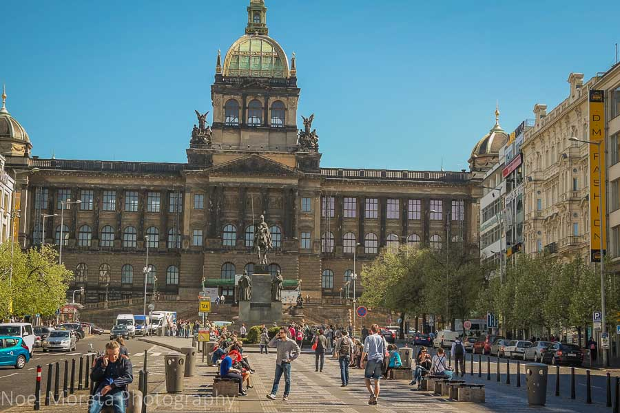 Eating and touring Prague in one day - Open plaza at Wenceslas square