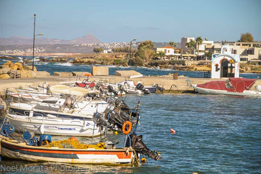 Fishing boats and harbor in Crete, Greece