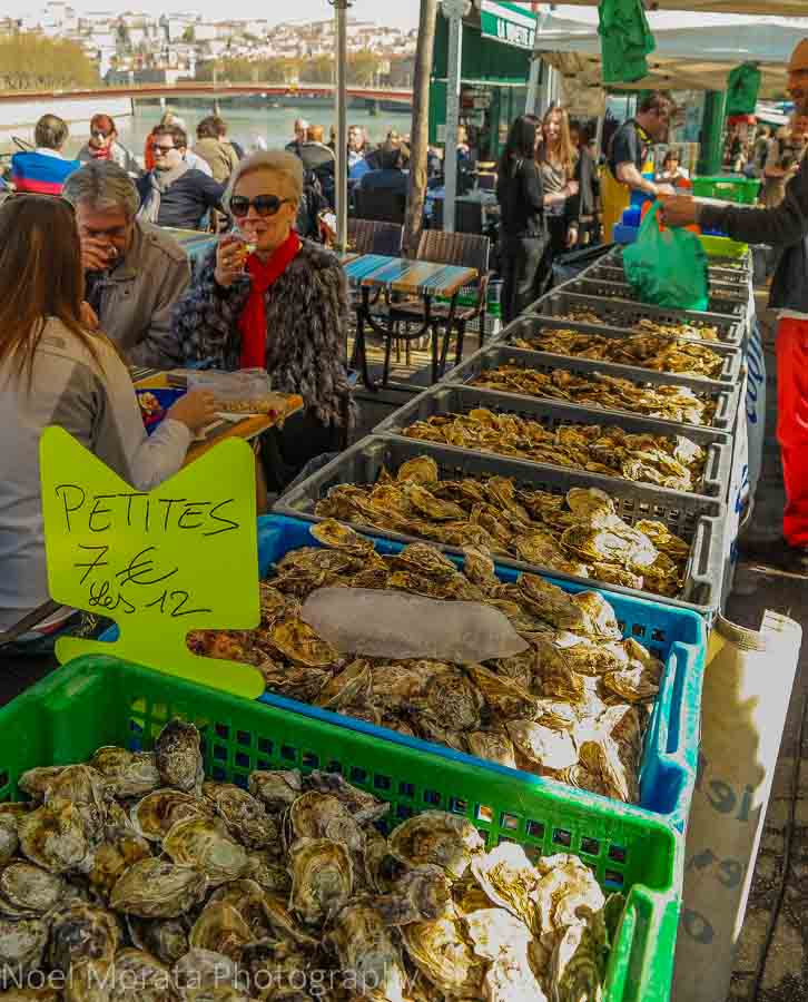 Delicious seafood for sale along the Saône river at Lyon, France