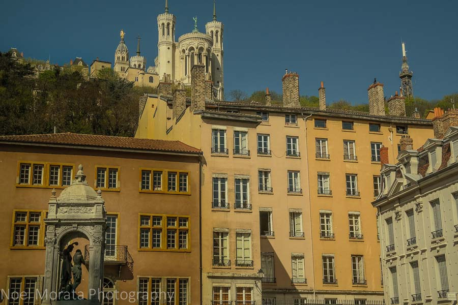 Looking up to the Basilica of Notre-Dame de Fourvière in the medieval district of Lyon, France