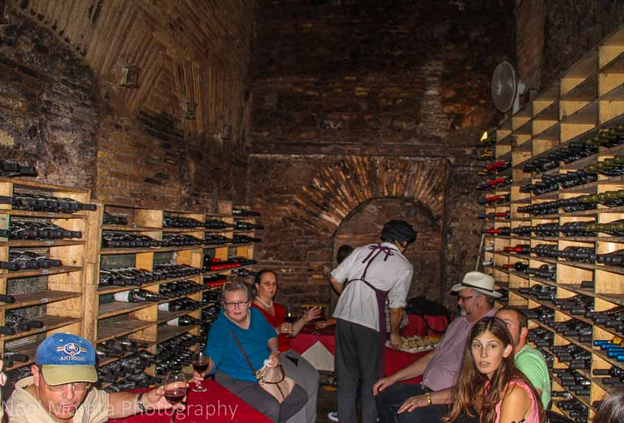 Dining in a cellar restaurant  in Trastevere, Rome