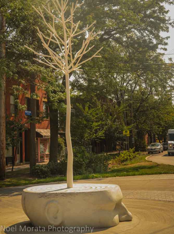 Outdoor sculpture at Tremont district in Cleveland, Ohio