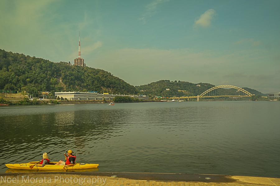 Riverfront panorama - - A first impression of Pittsburgh