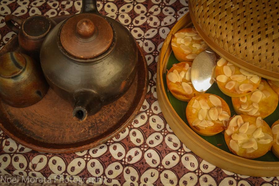 Tea service and savory appetizers at Amanjiwo in Borobudur, Indonesia