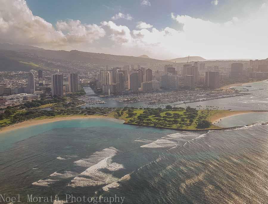Approaching Honolulu via Novitour helicopter ride around Oahu