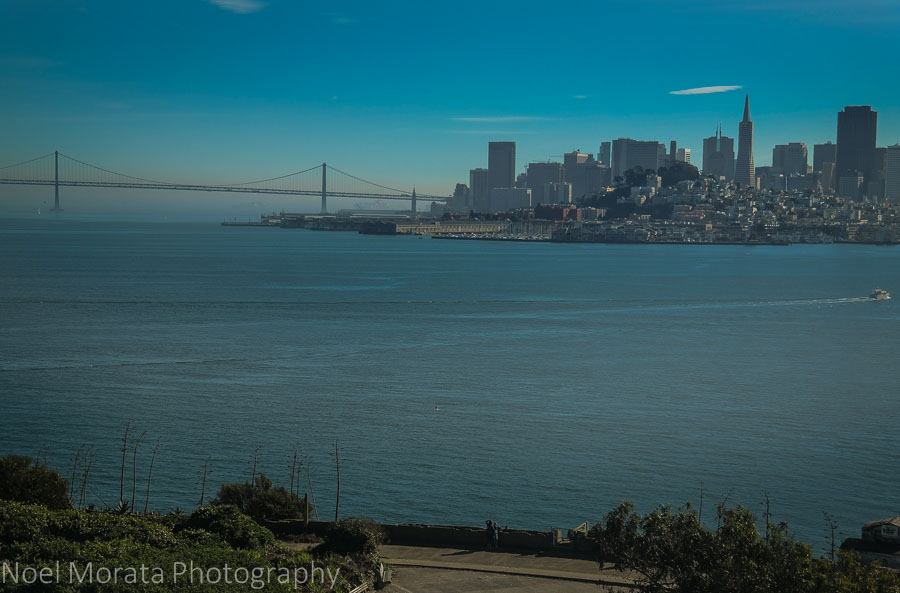 San Francisco skyline views from Alcatraz prison