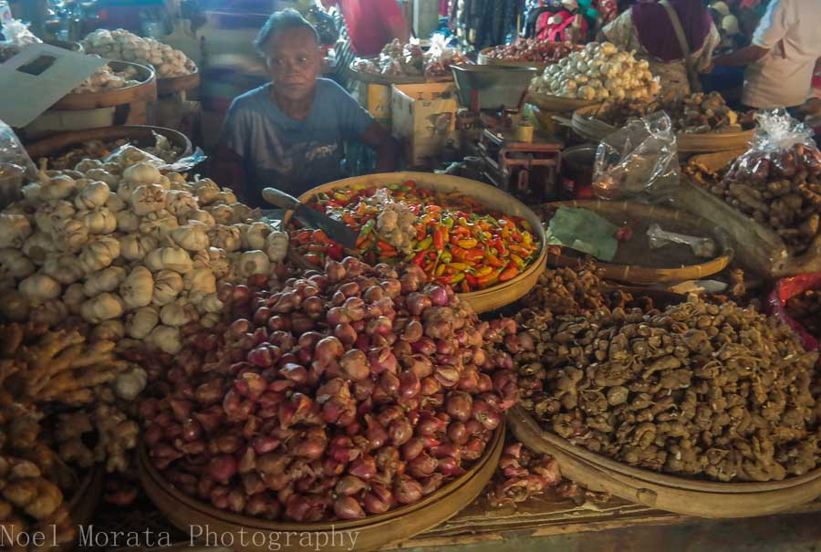 Local produce sold with a vendor in Tabanan province in Bali