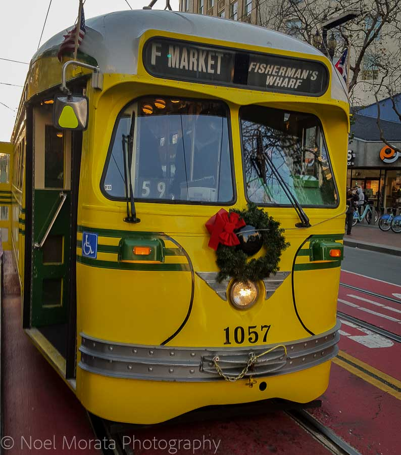 Decorated trolleys- Christmas in San Francisco