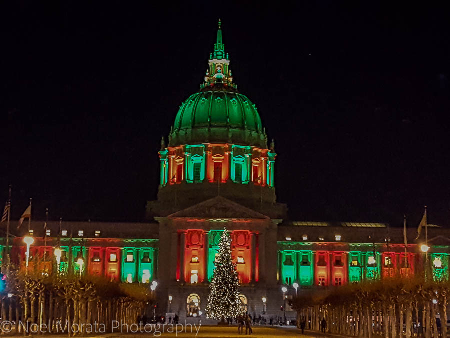 City hall Christmas lights in San Francisco