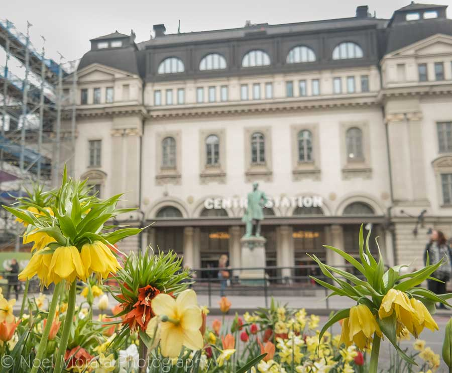 Stockholm's central train station with spring time annuals